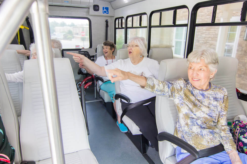 Senior residents at Brickmont on the bus